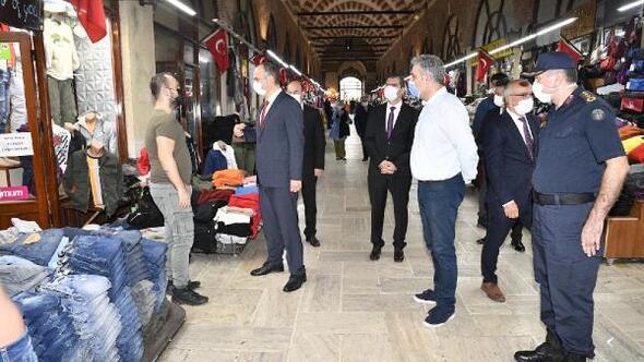 Edirne Valisi Canalp, tarihi çarşıda koronavirüs denetimi yaptı