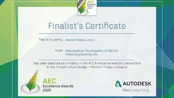 Mersin'in metro projesi, Aec Excellence Awardsda finalist oldu