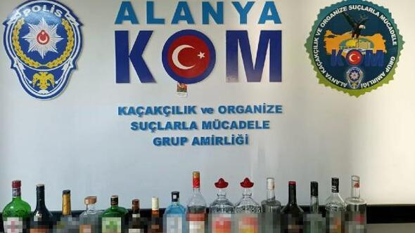 Alanyada 16 şişe kaçak içki ele geçirildi