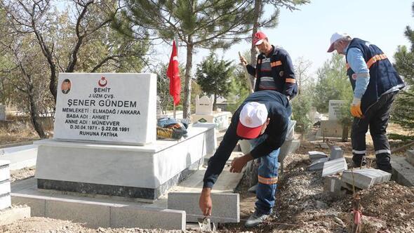 Şehit mezarları onarıldı