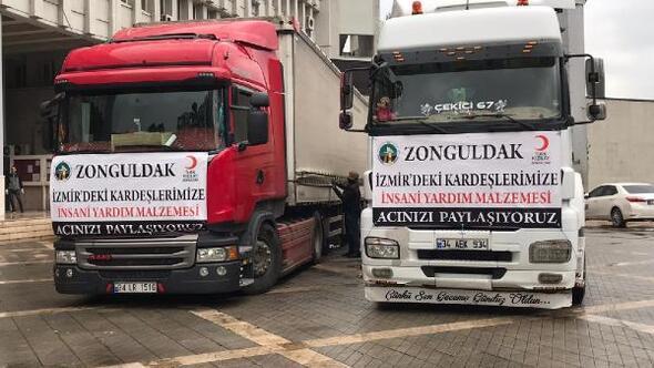 Zonguldakta İzmire yardım TIRları gönderildi
