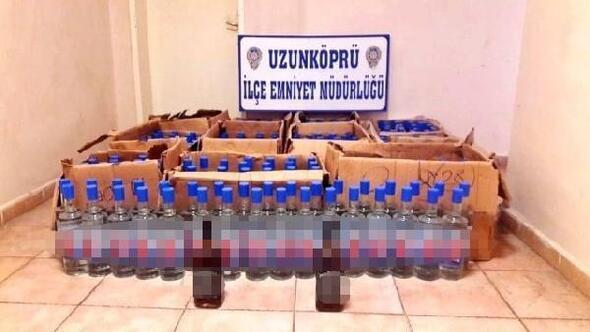 Edirnede 336 şişe kaçak içki ele geçti