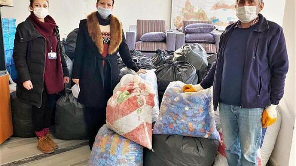Süleymanpaşada 1.5 ton plastik kapak toplandı