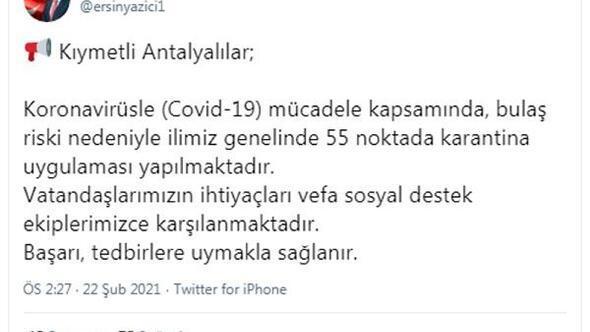 Antalyada 55 noktada karantina kararı