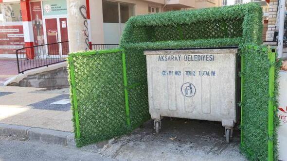 Aksarayda çöp konteynırları estetik bir görünüme kavuşuyor