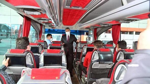 Şehirlerarası otobüs terminalinde koronavirüs denetimi