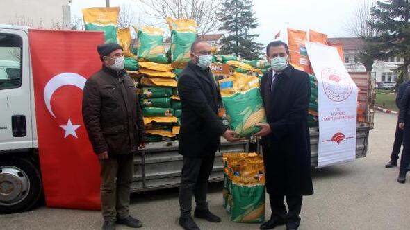 Boluda çiftçilere dane mısır tohumu dağıtıldı