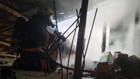 Alev alan evin çatısını itfaiye söndürdü