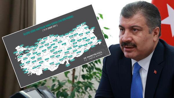 Son dakika: Sağlık Bakanı Fahrettin Koca, il il koronavirüs vaka sayılarını açıkladı