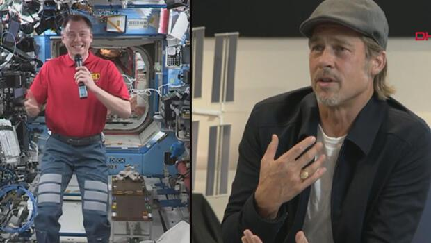 Brad Pitt, uzaydaki astronotla röportaj yaptı