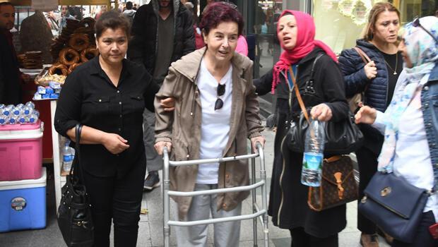 Fatma Girik taburcu oldu Yürüteçle Nişantaşında...