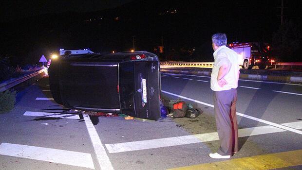 Çarpışma sonrası takla attı; kazada 3 kişi yaralandı