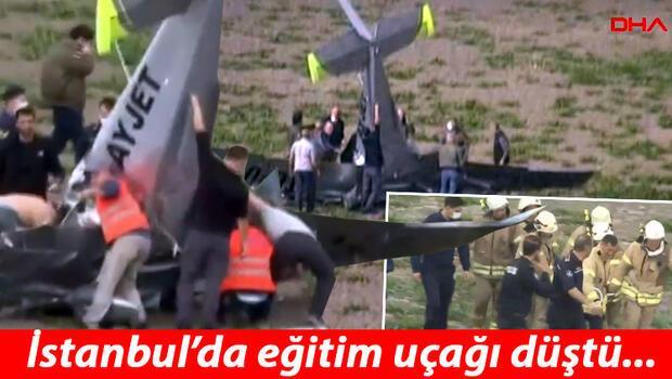 Son dakika haberi... İstanbul'da eğitim uçağı düştü.. Olay yerinden ilk görüntüler