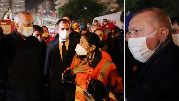 İzmir'de son dakika gelişmesi! Cumhurbaşkanı Erdoğan deprem bölgesinde! İncelemelerde bulundu