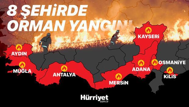 Türkiye'nin alevlerle mücadelesi... 8 ilde 16 ilçede orman yangını!