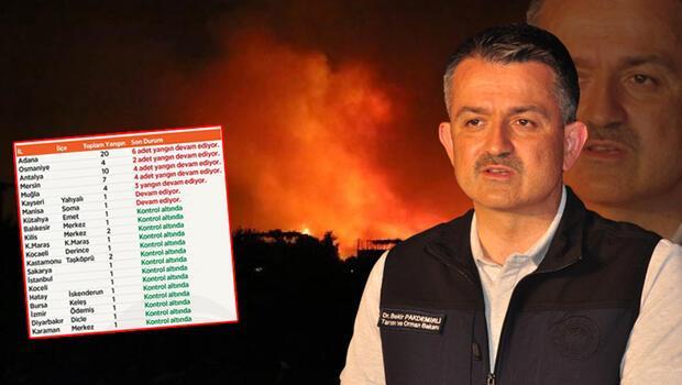 Tarım ve Orman Bakanlığı yangınlara ilişkin son gelişmeyi paylaştı