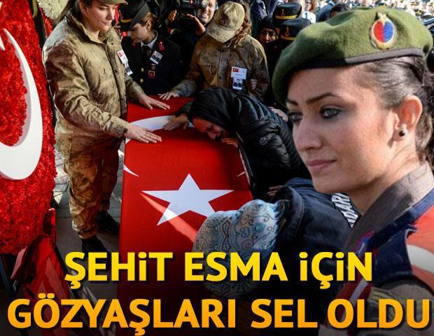 Şehit Üstçavuş Esma Çevike gözyaşlarıyla veda