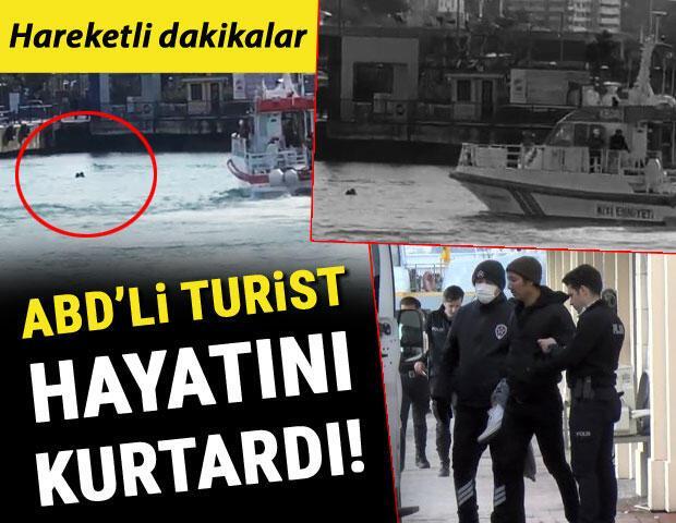 Kadıköy-Adalar vapurunda hareketli dakikalar Hayatını Amerikalı turist kurtardı...