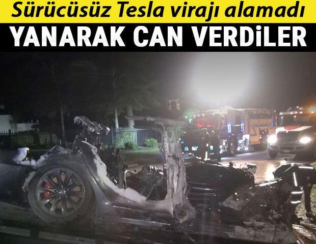 Sürücüsüz Tesla kaza yaptı: 2 kişi hayatını kaybetti