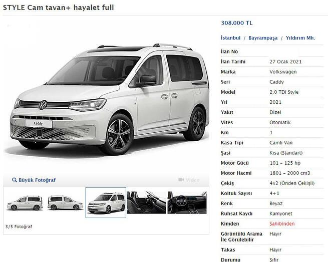 Fırsatçılar şimdi de Volkswagen Caddy'i seçtiler 38 bin lira fazlasını istiyorlar…