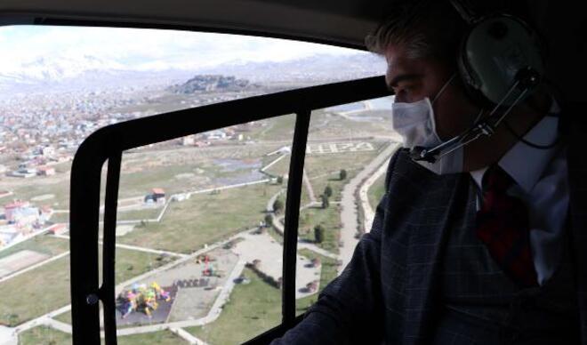 Van'da, 'koronavirüs' yasaklarına uymayanlara havadan uyarı