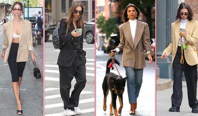 Sokak Stili: Emily Ratajkowski'den Blazer Ceket Giyme Dersleri