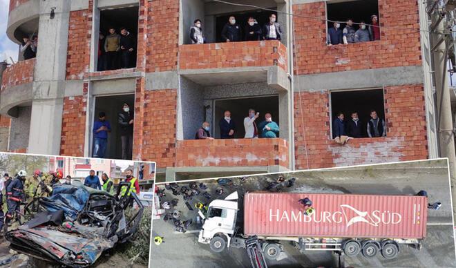 Facia gibi kaza: TIR ezdi! İzlemek için inşaatı doldurdular