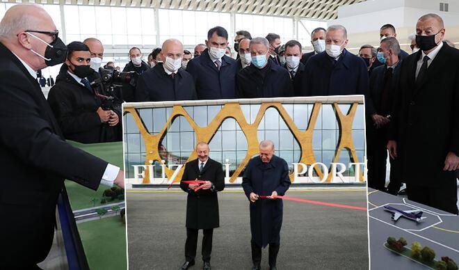 Cumhurbaşkanı Erdoğan Azerbaycan'da! Füzuli Havalimanı açıldı... İlk inen lider oldu