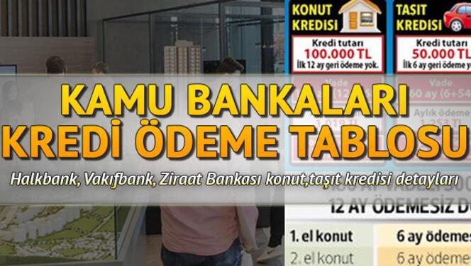 Kamu bankaları kredisi ödeme tablosu.. Taşıt, konut, tüketici ve  tatil kredisi oranları.. Vakıfbank, Halkbank ve Ziraat bankası kredi detayları