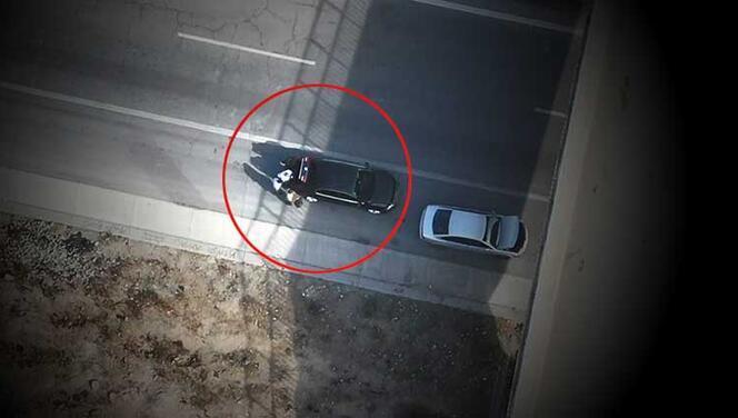 Mersin'de otoyolda uyuşturucu nakli dronla görüntülendi