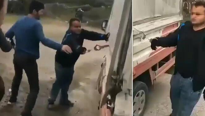 Kelepçe ile kamyonetebağladılar! Sakarya'da tepki çeken görüntüler