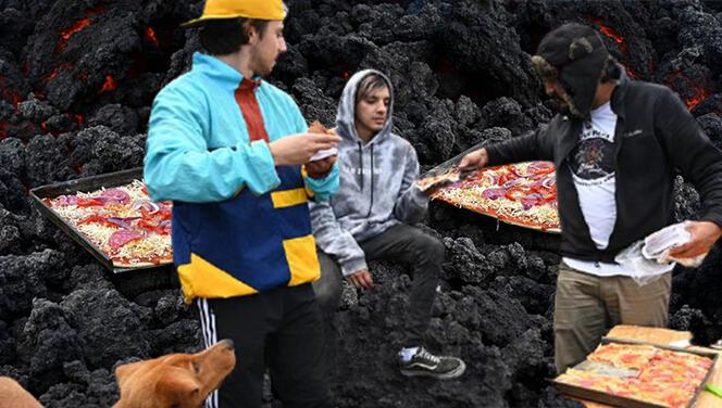 Gören bir daha baktı... Aktif yanardağda pizza pişirdi!