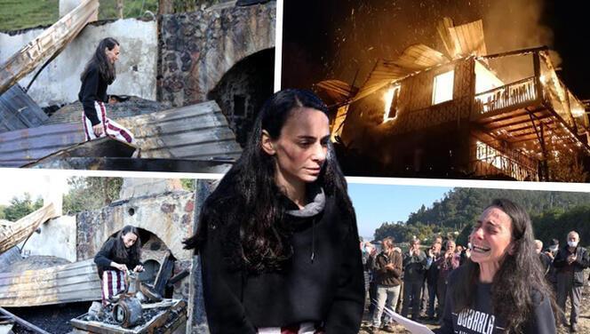 Çevreci ressam Gökçe Erhan, yanan evinde gözyaşıyla eşyalarını aradı