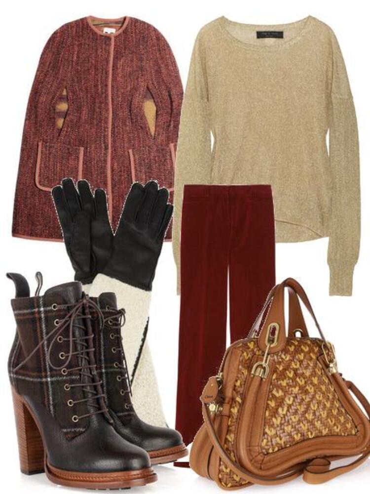 Yünlü kumaştan yapılmış pelerin: M MissoniMetalik, örgü kazak: Rag&BoneGeniş paçalı, kadife pantolon: Miu MiuEkose desenli, bağcıklı deri botlar: Dolce&Gabbana