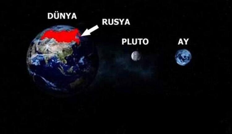 Rusya Plutodan daha büyüktür.Pluto: