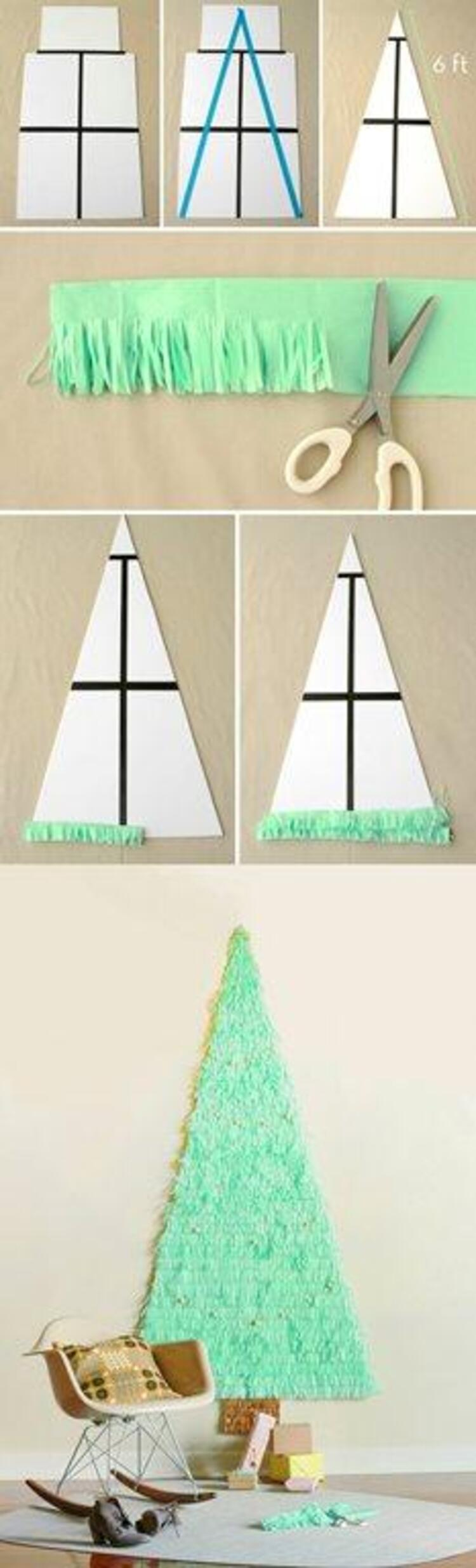 Ağaç almakla kim uğraşır ya diye düşünüyorsanız, kağıtlarla duvarınıza kocaman bir ağaç yapabilirsiniz.