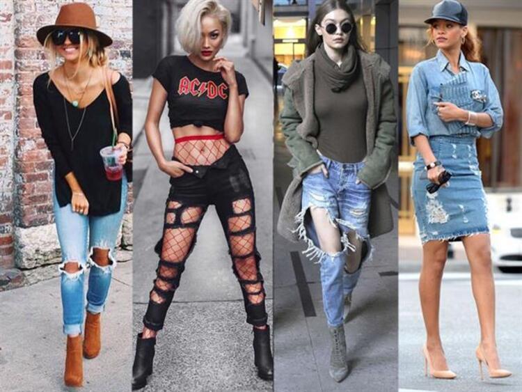 """Birçok jean modeli olsa da, bu Jean parçalar giyimimizin ayrılmaz parçalarından biridir. Siz modaseverler ve jean parçaları sevenler için, modası asla ölmeyecek türden olan yırtık jean yani """"Ripped Jeans"""" modasını derledik. Jean denildiğinde akla ilk olarak pantolon modelleri gelse de, ripped etekler de vardır. İşte """"Ripped Jeans"""" modası için en güzel kombinler…"""