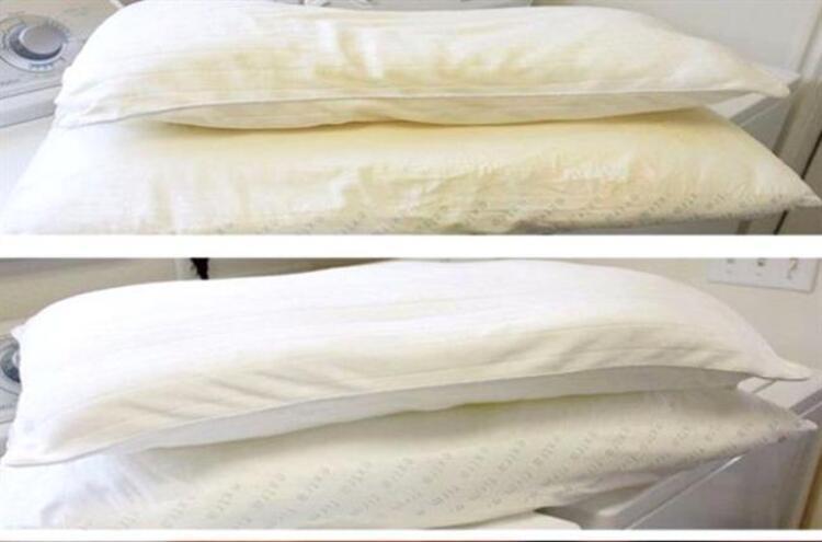 Sararmış yastıkları beyazlatmak için