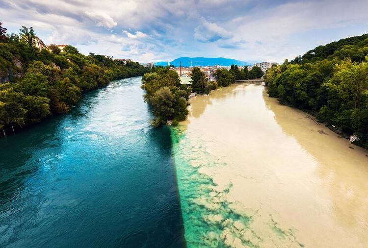 Confluence of Rhone and Arve Rivers / Rhone ve Arve Nehirlerinin Birleşmesi (İsviçre)