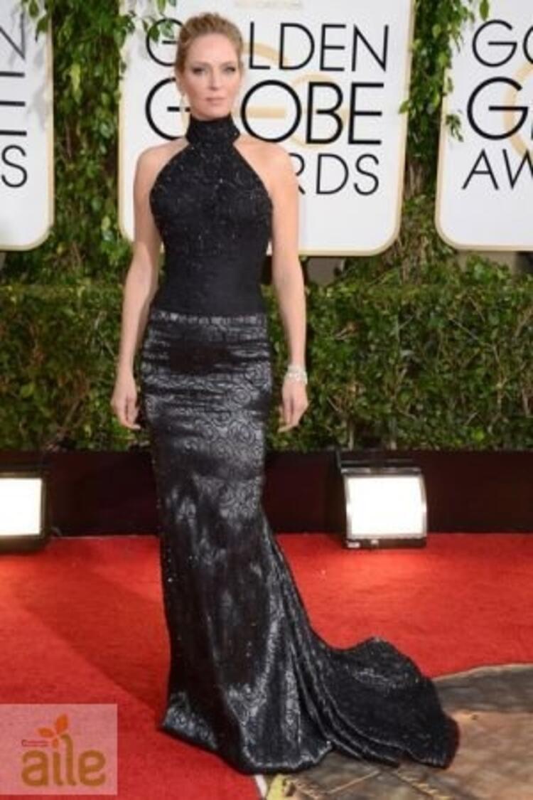 Uma Thurman Atelier Versace elbisesiyle