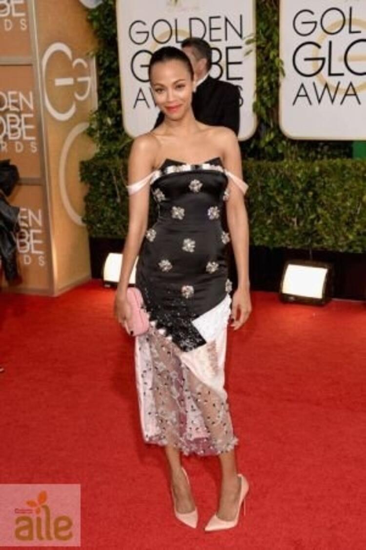 Zoe Saldana Prabal Gurung elbisesiyle