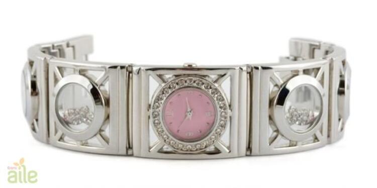 Bileklik tarzı taşlı bayan kol saati