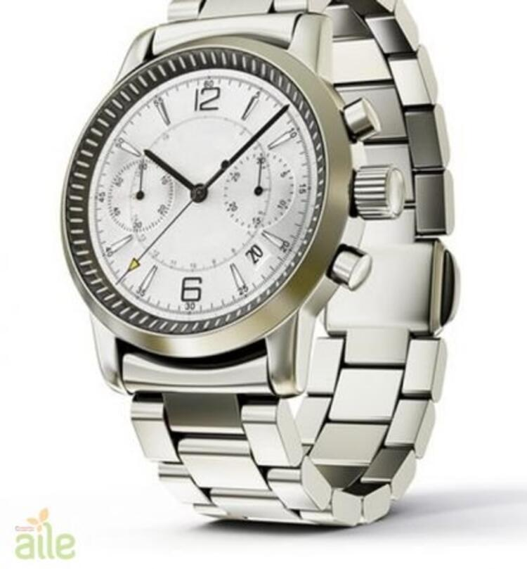 Oval kadranlı metal kordonlu erkek kol saati
