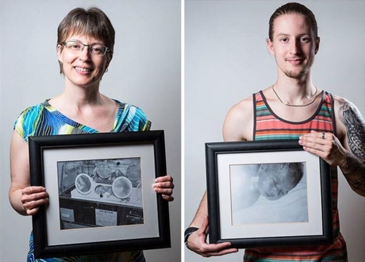 Julie 7 haftalık iken, oğlu Kevin 34 haftalık iken doğdu