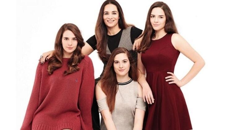 Neşe Erberk ve kızları Alin, Selin ve Lara