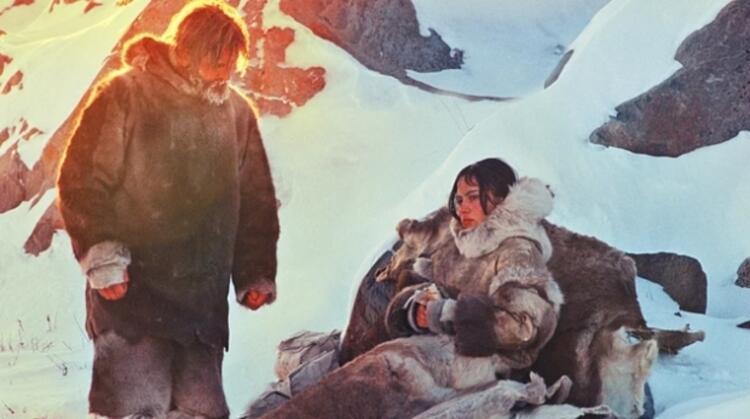 Karda yürüyen