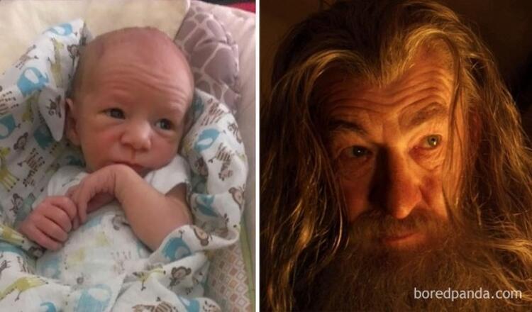 Gandalfa benzeyen bebek.