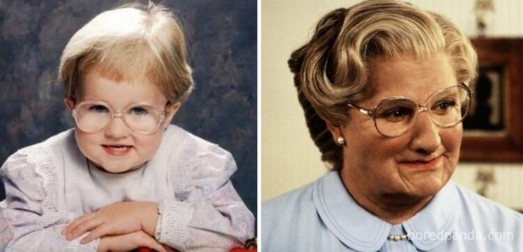 Bayan Doubtfirea benzeyen bebek.