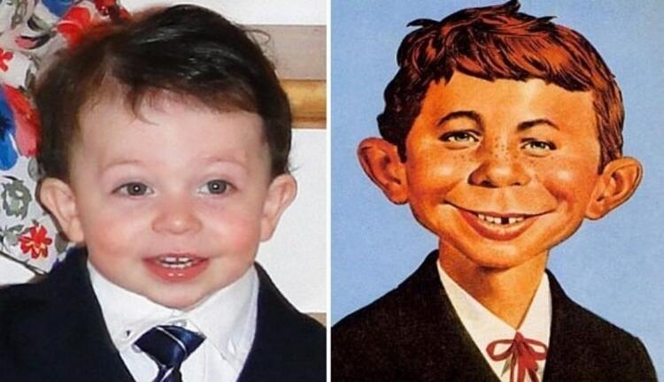 Minik James, Masbot Boy Alfred E. Newmana benziyor.
