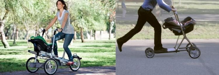 Bisikletli ve kaykaylı bebek arabası
